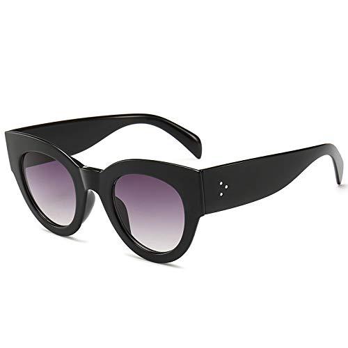 SONGYUAN Gafas de sol Classic Wild Retro Trend Gafas de sol C1 Marco Negro Brillante Doble Gris Película