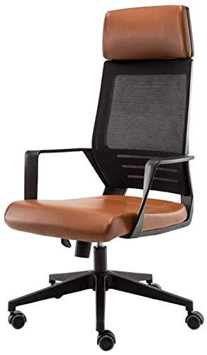 WY Silla de oficina moderna y minimalista ergonómica, silla de ocio para el hogar, silla de juego electrónica, respaldo transpirable, respaldo ancho de red (color: marrón)