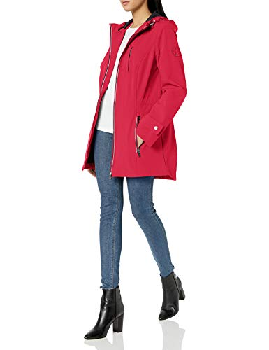 Tommy Hilfiger Women's Iconic Sporty Hooded Soft Shell Rain Jacket, Crimson, Medium