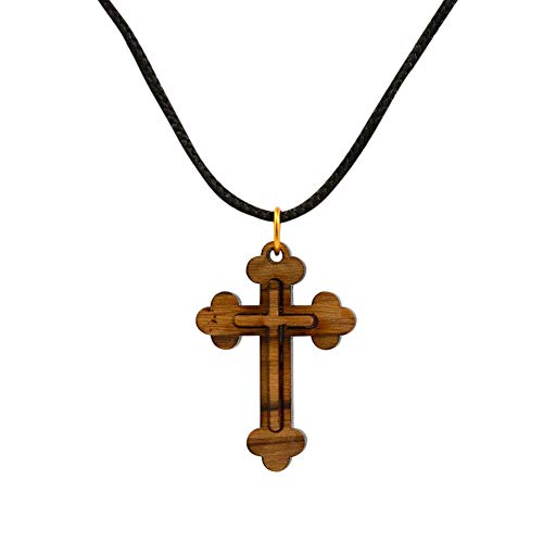 Certified Bethlehem Made Wooden Cross (Olive Wood) Budded Cross Pendant on Black Cord Necklace in Natural Cotton Pouch - 24' Adjustable Wood Cross Necklace for Men & Women