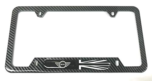 Mesport Carbon Fiber Style Stainless Steel Rust Free UK Flag License Plate Cover Frames Holder with Screw Caps for Mini (1)