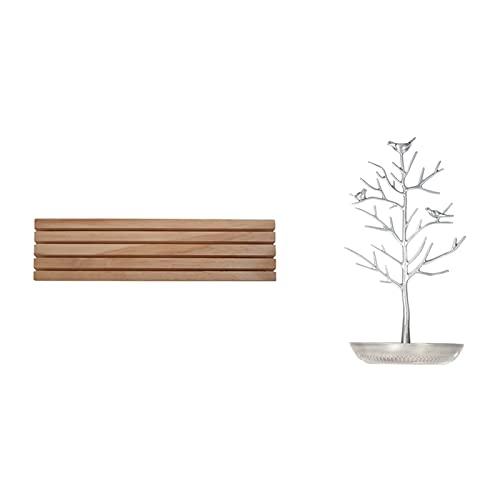 GOUJI Liupin Store 1 soporte de joyería de árbol de metal, soporte de anillo y 1 soporte de madera maciza natural (color de la imagen)