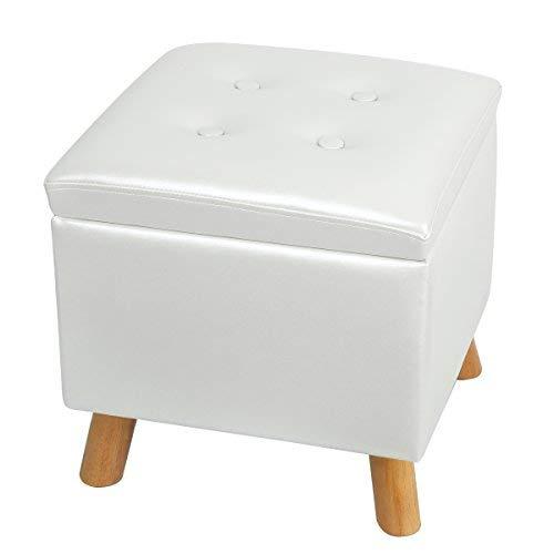 Eshow 30L Tabouret Cuir Pouf Repose-Pieds Coffre de Rangement Cube de Stockage Organisation Boîte de Siège Coffre a Jouet Chargement (Noir 30L)