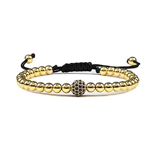 ht bracelets ZHBO Handmade 5mm Beaded Bracelets, Black Copper Beads, Adjustable Men Bracelet Women Jewelry (Metal Color : 3)