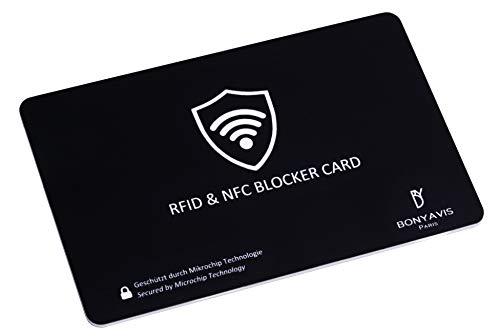 RFID Blocker NFC Schutzkarte – Militärtechnologie Störsender - Eine Karte schützt die gesamte Geldbörse vor Hacker - Nie Wieder einzelne RFID Schutzhüllen für Kreditkarten, EC-Karte, Personalausweis