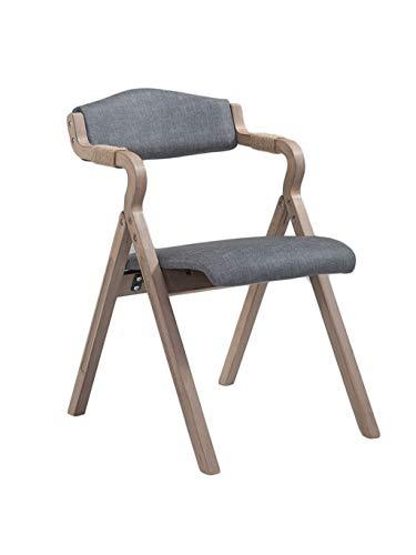 ZHyizi kruk met rugleuning, massief hout inklapbare ergonomie mat kunstleer kussen vrije tijd ontbijt stoel voor bar café keuken eten Grijs