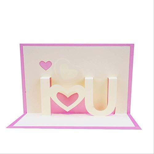 Tarjeta Regalo BLTLYX 3d I Love You Pop Up Tarjetas De Saludo Feliz Cumpleaños Amante De San Valentín Aniversario 10 * 15cm Rosa