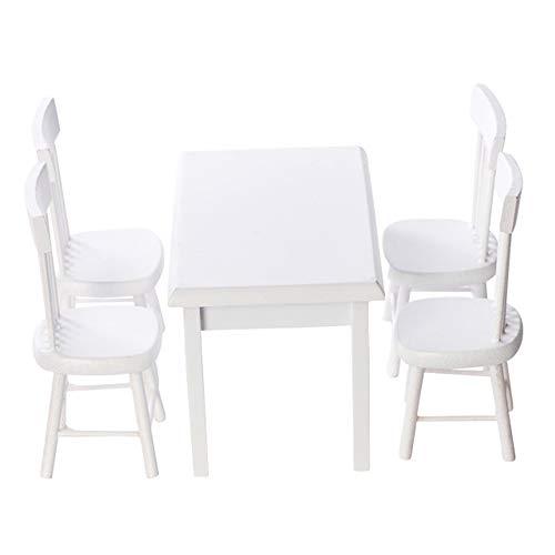 MOPOIN Miniatur Möbel, 5 Stück Esstisch Stuhl Modell Set Puppenhaus Möbel Set Miniatur Deko Holzmöbel Tisch und Stühle für Puppe Miniatur Simulation Möbel Spielset, Weiß
