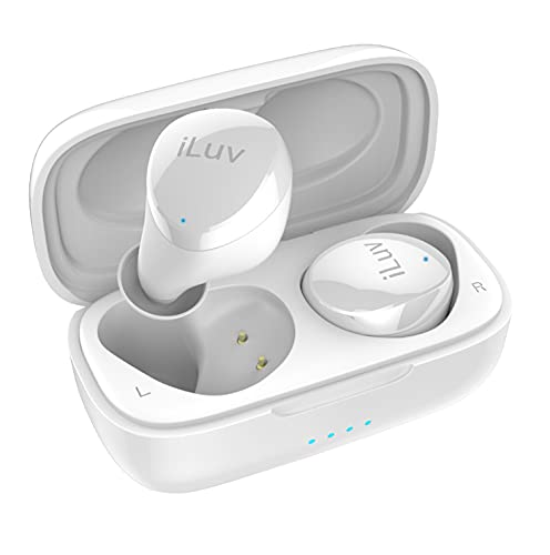 iLuv TB100 White True Wireless Earbuds Cordless in-Ear Bluetooth 5.0 with Hands-Free Call Microphone, IPX6 Waterproof Protection, High-Fidelity Sound; Includes Compact Charging Case & 3 Ear Tips
