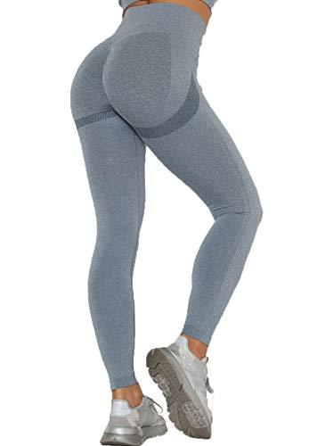INSTINNCT Collant Running Femme sans Couture Legging Sport Push Up Motif Jacquard Pantalon Sport Collant Compression Slim pour Fitness Gym Yoga Gris S