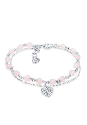 Elli mujer Plata de ley (925/1000) plata redondo rosa cuarzo cristal