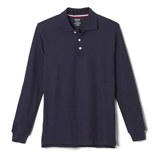 French Toast Big Boys' Long-Sleeve Pique Polo Shirt, Navy, XX-Large/18-20