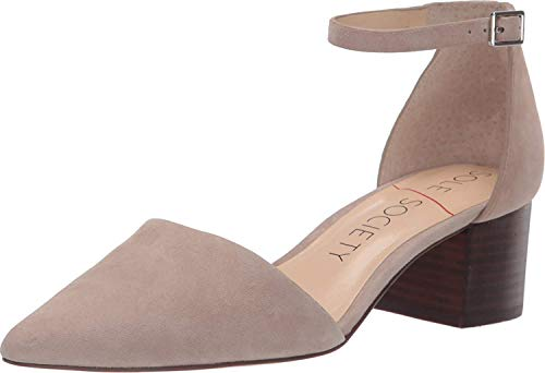 Sole Society Women's Katarina Point Toe Ankle Strap Pump with 1.75' Block Heel, Taupe Kid Suede - 7.5