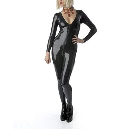 Lederunterwäsche für DamenLatex-Catsuit mit V-Ausschnitt vorne, Gummi-Latex-Mädchenoverall mit Reißverschluss-Orange_XXS