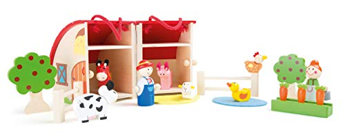 small foot wooden toys Wooden Farm Play Set - Premium Toy Designed for Kids  Ages 3 Years & Up. A Small Foot Design  Multi