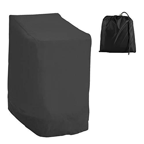 LoveStory Schutzhülle für Gartenstuhl, aus Oxford-Stoff, 210D, wasserdicht, Bezug für Stapelstühle, Schutzhülle für Stühle mit Armlehnen, Außen, gegen Witterungseinflüsse, 114 x 85 x 65 cm (schwarz)
