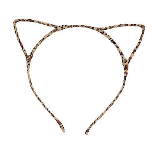 FOMIYES 1 Pieza Diadema Orejas de Gato Lindo Tocado Disfraz Fiesta Orejas de Gato con Cable Diadema Halloween Vestido de Fantasa (Leopardo)