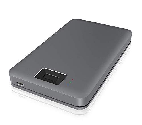 ICY BOX Fingerabdruck Gehäuse mit Verschlüsselung für 2,5 Zoll SSD oder Festplatte, USB 3.0, extern, Aluminium