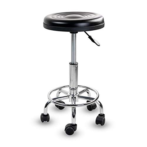 MOUNT-IT! Adjustable Stool with Wheels [Leather Round Cushion] Backless Rolling Doctor Stools, Hydraulic Swivel Chair for Spa, Salon, Medical Office, Tattoo, Home, Car Shop, Massage (Black)