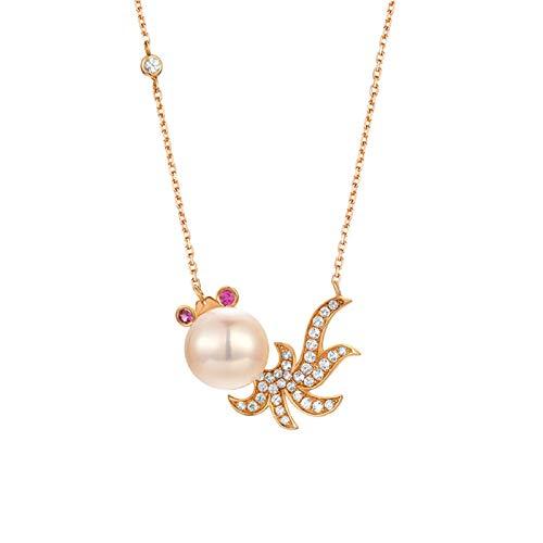 AtHomeShop Collar de oro rosa de 18 quilates para mujer, colgante de rubí blanco, cadena de mujer con forma de pez dorado, pulido brillante, joya de oro real con caja de joyas para boda – oro rosa
