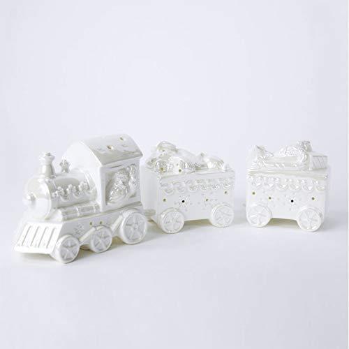 Treno di Babbo Natale con Locomotiva e 2 vagoni in Ceramica con Luci LED Decorazione Natalizia...