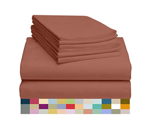 LuxClub 6 PC Sheet Set Bamboo Sheets Deep Pockets 18' Eco Friendly Wrinkle Free Sheets Machine Washable Hotel Bedding Silky Soft - Salmon Pink King