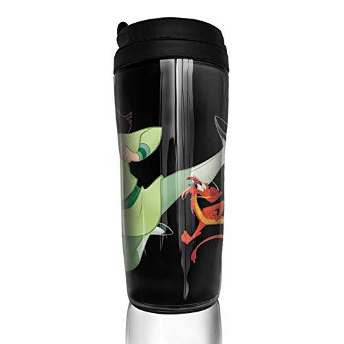 Lawenp Vakuumisolierte Kaffeetasse mit Klappdeckel, doppelwandigem Wasser Fröhliche Mul_An 'S-Kaffeetasse für Heim-, Büro- und Außenarbeiten