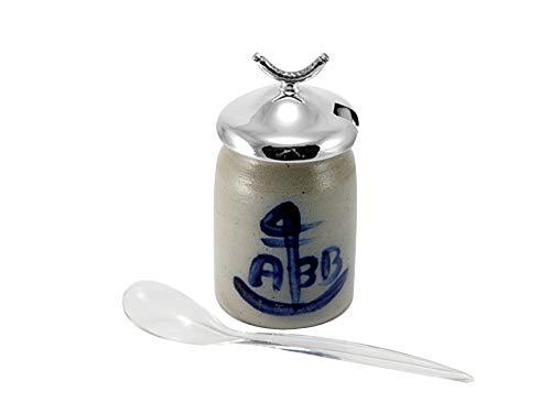 Brillibrum Design Senftopf Senftöpfchen Stein Steingut + 925er Sterlingsilber Servierschale Mostert Senf Topf Gefäß