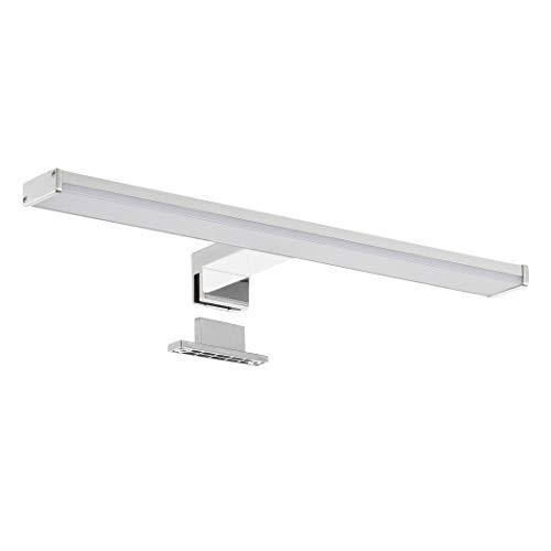 SEBSON® LED Spiegelleuchte 40cm, Bad IP44 neutralweiß 4000K 400x106x40mm 8W 600lm, Aufbauleuchte + Klemmleuchte, Aluminium, Schminklicht