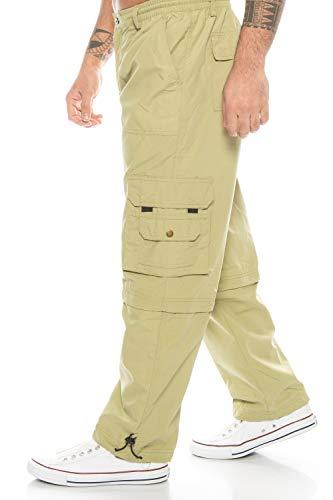 Kendindza Relaxed Zipp-Off Cargo-Hose | Ranger-Hose | Vintage Freizeit-Hose | Outdoor-Hose | Zipp-Hose Loose-Fit (Sand | Muster 2, L)