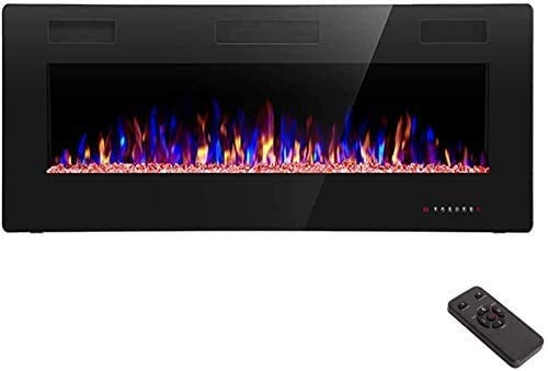 R.W.FLAME 42 inch Recessed and Wall Mounted,The Thinnest Fireplace,Low Noise, Fit for 2 x 6 and 2 x 4 Stud, Remote Control with Timer,Touch Screen,Adjustable Flame Color and Speed …