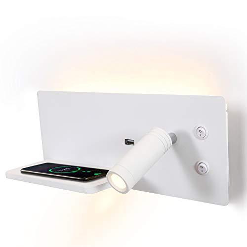 Puhui Lámpara LED de pared interior interruptor, puerto de carga USB y cargador inalámbrico Qi, lámpara de lectura 3 W y luz de fondo, cama para lectura de hotel dormitorio luz nocturna (W-L)