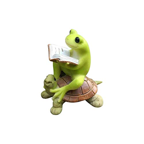 ZXLRH Garden Outdoors Statues Design Art Mini Resin Frog Reading Book On Turtle Micro Landscape Figure Home Sculptures Crafts
