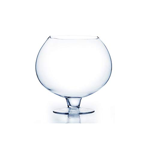 """WGV Bowl Glass Vase, Diameter 12"""", Height 12"""", Clear Bubble Floral Container with Stem, Planter Terrarium for Wedding Party Event Home Office Decor, 1 Piece"""