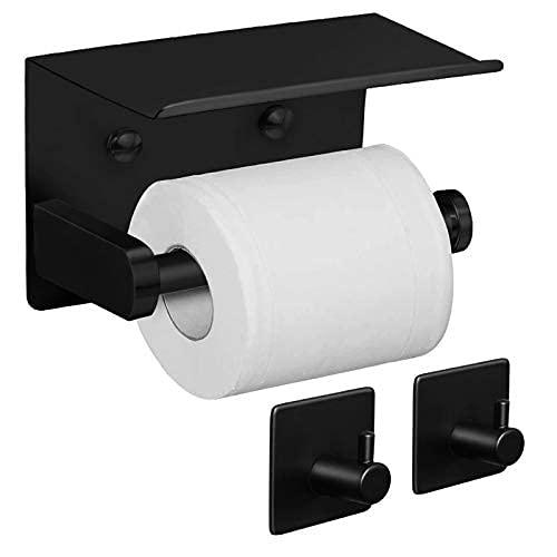 Soporte de papel higiénico con estante + ganchos para toalla, adhesivo o tornillo montado en la pared, soporte para rollo de papel higiénico, acero inoxidable