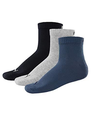 PUMA Unisex Plain 3P Quarter Socke, Blau (Navy), 35-38