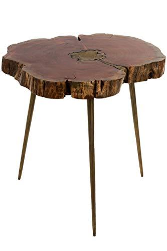 Elbmöbel, bijzettafel met messingvulling, boomschijf, design tafel, modern massief
