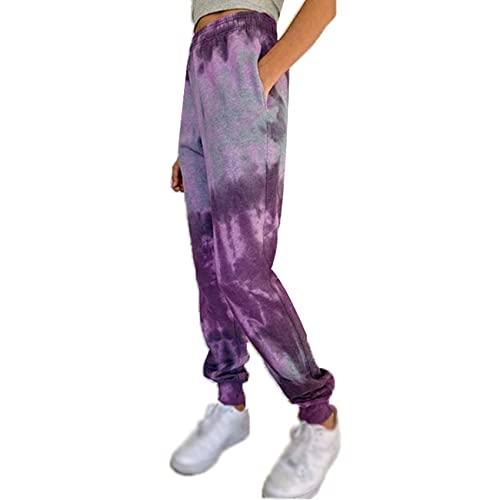 WJANYHN Pantalones Casuales De Linterna De Pie PequeñO con Estampado De TeñIdo Anudado Multicolor De Moda De OtoñO E Invierno para Mujer