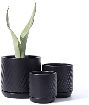 3-Pack Potey Plant Pots with Drainage Holes & Saucer