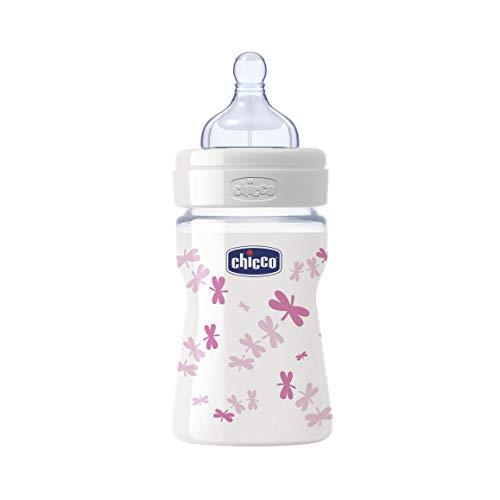 Chicco 00020711100000 Benessere Vetro Bambina Biberon, Silicone, Flusso Regolare, 150 ml, Rosa