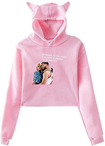 Blusa de Manga Larga Women's Cat Ear Hoodie Long Sleeve Hooded Karol-G Pullover Sweatshirt Tops Blouse Sweater Black