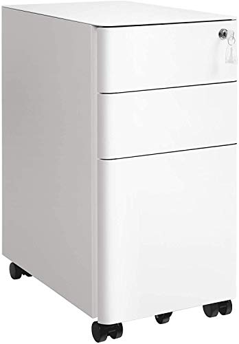 The File Cabinet is Made of Steel, Very Strong, 5 casters, with Two Brakes, Rounded Design to Prevent Collision,White