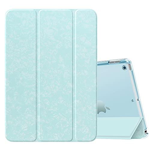 MoKo Funda para Nuevo iPad 8ª Gen 2020 / 7ª Generación 2019, iPad 10.2 Case, Ultra Delgado Función de Soporte Protectora Plegable Cubierta Inteligente Trasera Transparente, Azul Cielo Moteado