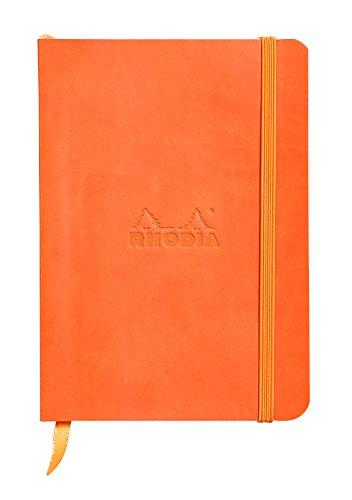 Rhodia 117364C - carnet souple Rhodiarama 144 pages ivoire 10,5x14,8 cm 90g DOT (petits points), fermeture élastique, pochette à soufflet, couverture simili cuir Tangerine