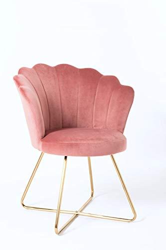 Duhome Silla tapizada sillón con Patas de Metal Dorado sillón Lounge salón 8057C, Color:Rosa, Material:Terciopelo
