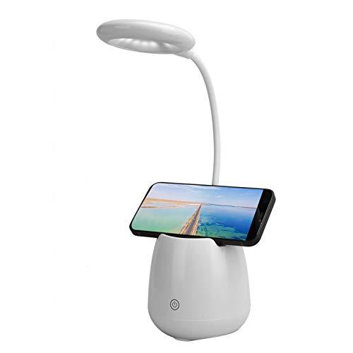 Yunseity Lámpara de Escritorio Luz de Mesa, Altavoz Bluetooth Control táctil Luz de Escritorio Soporte para teléfono, Lámparas de Noche con Bluetooth 5.0, Tres Niveles de atenuación(Blanco)