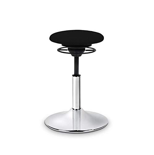BALIMO Classic, Bürohocker, Sitzhocker, ergonomischerRücken-Trainer, Standfußchrom, Bezug schwarz