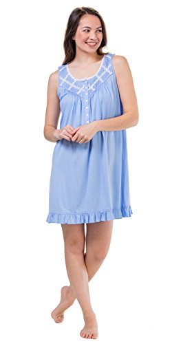Eileen West Plus Sleeveless Cotton Modal Short Nightgown in Dixie Daisy (Heather Blue, 3X)
