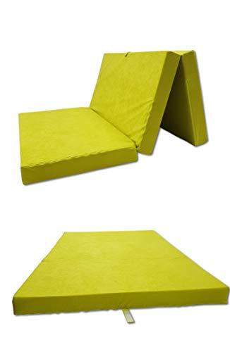 Odolplusz Colchón plegable – Fabricado en la UE – Se puede utilizar como colchón para invitados (amarillo, 80 x 200 cm)
