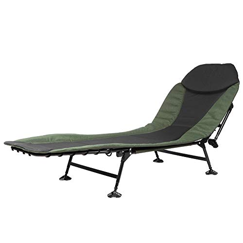 Greensen Folding Bedchair 6 Leg Recliner with Pillow Bed Chair Lounger Camping Sofa Bed Fishing Chair Carp Chair Beach Chair Camping Chair for Balcony Outdoor Fishing Camping